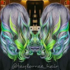 Rainbow hair mermaid hair unicorn hair by taylor rae hair painting vivid hair color hotonbeauty. Vivid Hair Color, Cool Hair Color, Hair Colours, Different Hair Colors, Bright Hair, Unicorn Hair, Hair Painting, Green Hair, Gorgeous Hair
