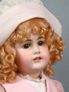 Early Gebruder Kuhnlens antique (circa 1890) doll with square cut teeth. 19.5""