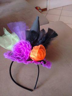 Sombrero Diadema Brujita Halloween para niña. Tul de colores 77bf70952a7
