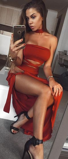 #summer #outfits  Red Cut-out Off The Shoulder Maxi Dress 🍷💃🏽 + Black Sandals