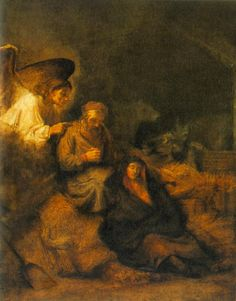 Icons & Imagery: Title: The Dream of St Joseph Artist: Rembrandt Harmenszoon Van Rijn Medium: Oil on canvas Size: 105 x 83 cm Date: 1655 Location: Museum Of Fine Arts, Budapest, Hungary.