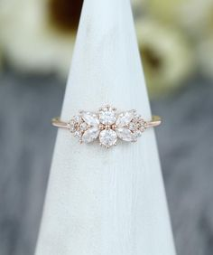 Yellow Engagement Rings, Engagement Ring Shapes, Vintage Engagement Rings, Flower Shaped Engagement Ring, White Gold Wedding Bands, White Gold Rings, Wedding Rings, 14 Carat, Ring Verlobung
