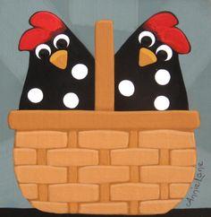2pc Chicken Basket - Whimsical Chicken Art By Annie lane