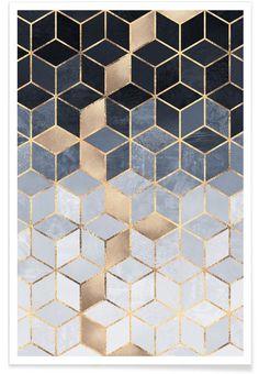 Soft Blue Gradient Cubes en Affiche premium | JUNIQE