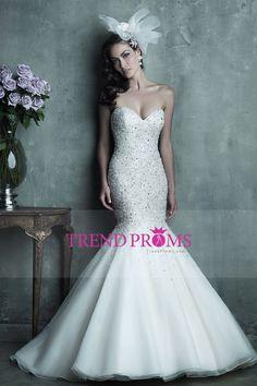 2016 vestidos de boda de la sirena del amor totalmente blusa moldeada Tulle