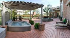 spa decks | Entertainment Deck with Spa Pergola