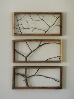 Branches collected from the forests of Colorado and framed in aged pallet wood. Each frame is 17.5 Long x 8 Tall x 1.5 Deep.