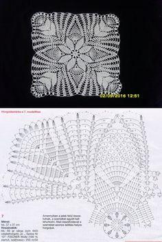 Album motives and napkin - Her Crochet Crochet Tablecloth Pattern, Crochet Motif Patterns, Crochet Cushions, Crochet Blocks, Crochet Squares, Crochet Designs, Crochet Dollies, Crochet Art, Thread Crochet