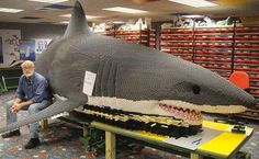 lego shark - Buscar con Google: Shark Lego, Shark Stepping On Lego, Lego Stuff, Sharknado 2, Awesome Lego, Sharks, Great White Shark, Challenge Accepted, Lego Sculptures