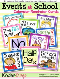 FREE Events at School Calendar Reminder Cards from Kinder Craze on TeachersNotebook.com (5 pages)  - FREE cards for your classroom calendar to announce upcoming school/classroom events such as birthdays, half days, no school, substitute teachers, and more!