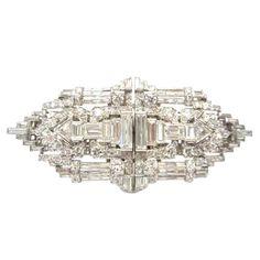 Art Deco Diamond Platinum Clips