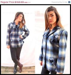 Vintage 1950s country western jacket, Trego Westwear shadow fade plaid, wool mohair blend. Ladies size SMALL TO MEDIUM. See measurements.