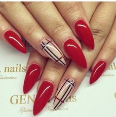 Burberry Inspired Long Pointed Designer Nails