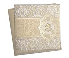 Budget Invites - Multifaith Indian wedding card with embossed golden motifs
