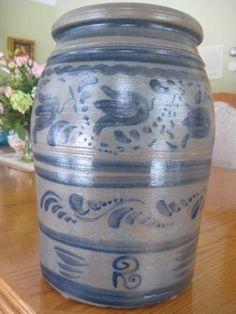 2 gallons. ~~DECORATED GREENSBORO PA STONEWARE CROCK~~