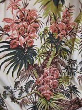 Vintage 1940/50s Drapes Curtains Trees Blossums Pink Green Exotic