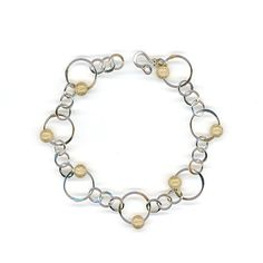 Inspiration.  Bracelet Gold Beaded Sterling Silver Wire Chain Link by WvWorks.