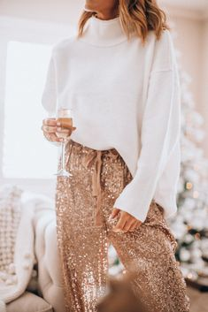holiday party outfit // glitter pants and white sweater