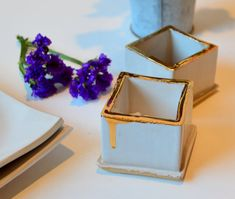 White and Gold Salt and Pepper Cellar Set White and by jillzeidler