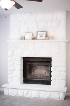 Whitewash Stone Fireplace - New Picture of Home Interior 2020 Whitewash Stone Fireplace, Painted Stone Fireplace, White Wash Fireplace, Stone Fireplace Designs, Stone Fireplace Makeover, Fireplace Update, Paint Fireplace, Fireplace Remodel, Fireplace Mantels