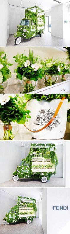 Azuma Makoto created a spectacular pop-up flower shop in Tokyo for Fendi.