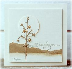 delightful handmade card ... coffee and cream  challenge ... clean design ... simple scene created with Memory box die cut, torn paper horizon lines, circle punched sun and sentiment from Technique Tuesday ... luv this card!!