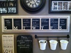 Weekly Chalkboard Calendar/ Planner.  Cut the board to size, sand well.  Mark off with tape, paint with chalkboard paint.  Paint edges, letters (Hobby Lobby) and trim (Lowe's) in cream.  Glaze trim and letters by painting on brown acrylic paint and wiping off with wet paper towels.  Cut trim to size, glue/nail in place.  Glaze around edges, glue on letters.  Easy.
