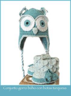 Gorro buho crochet turquesa