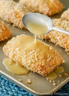 Want to impress your family tonight? These crispy and fluffy chicken pillows will do the trick! The creamy chicken filled center is wrapped with crescent dough breaded and baked. Top with chicken gravy for a perfect finishing touch. Food Advertising by M Fluffy Chicken, Baked Chicken, Chicken Gravy, Creamy Chicken, Chicken Cake, Cashew Chicken, Shredded Chicken, Chicken Pillows Recipe, Turkey Recipes