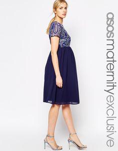 Image 1 ofASOS Maternity Exclusive Embellished Midi Dress