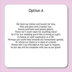 wording for wedding invitations asking for money - Google Search: