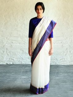 Mehjabeen White Cotton-Silk Saree By Raw Mango