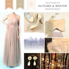 TREND COLORS FOR AUTUMN & WINTER BRIDESMAID DRESSES 「モカ&ベージュ」モカ〜ベージュ〜オフホワイトのやわらかい色味であたたかみ溢れる冬のブライズメイドスタイルです。 #Bridesmaid #Wedding #Dress #Beige #Mocha #White