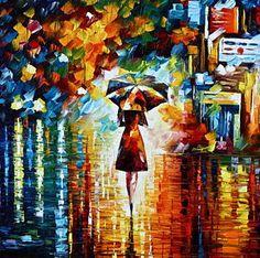 Woman Painting - Rain Princess - Palette Knife Landscape Oil Painting On Canvas By Leonid Afremov by Leonid Afremov