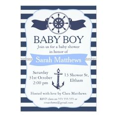 Boys Nautical Child Bathe Invitation. >> See even more by clicking the picture link