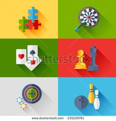 Set of game icons in flat design style.. - stock vector