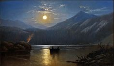 Alfred Edward Lambourne (1850-1926), Moonlight, Silver Lake, Cottonwood Canyon - 1880