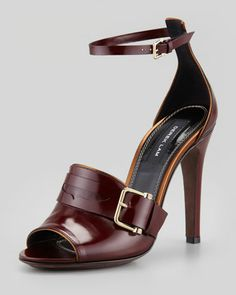 Derek Lam Fara Ankle-Wrap Penny Sandal, Wine - Neiman Marcus.. Now this is a sexy ass Shoe.! No question.