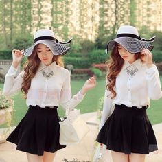 Black   White Striped Straw Women s Hat With Bowknot cc9a55d8f370