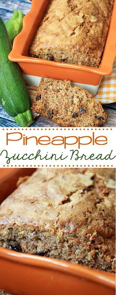 Pineapple Zucchini Bread - absolutely delicious and SO moist! With crushed pineapple, fresh zucchini, raisins, and spices - this dairy free bread is perfect!
