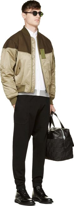Undecorated Man Green Layered Fur-Trimmed Flight Jacket
