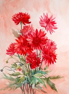 Original watercolor painting, Red Dahilas, Red flowers painting, garden floral art 24 X 18 in on Etsy, $76.00