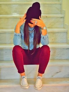 Red pants, chambray, white chucks, statement necklace and beanie