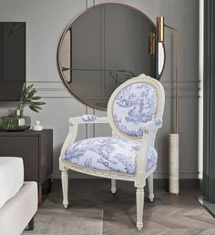 Baroque armchair of Louis XVI style blue toile de Jouy and beige wood Louis Xvi Style, Jouy, Louis Xvi Bed, Furniture Styles, Country Style Interiors, Armchair, Blue Toile, White Bedding, French Country Furniture