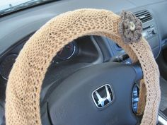 Knit Steering Wheel Cover Wheel Cozy with a Flower  topaz