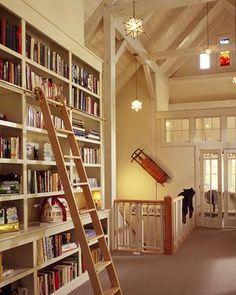 Timber frame home, built-in bookshelves