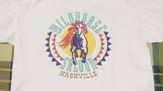 Vintage Wildhorse Saloon T Shirt Sz L Tee White Blue Nashville Purple USA Made #Oneita #GraphicTee