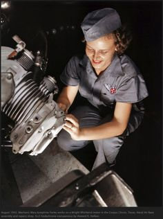 Smiling women at work during WWII. They did much of the manufacturing work until the men came home from overseas, and they went home, period. From Pavel Kosenko's blog. http://pavelkosenko.wordpress.com/