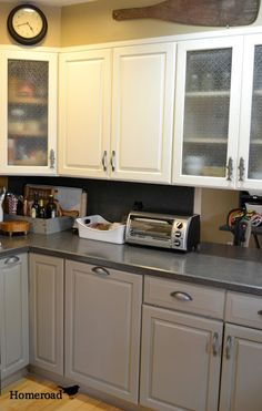 Bella Terra Designs used Annie Sloan Chalk Paint... The uppers were done in 1/2 Pure White and 1/2 Old White. I didn't want the upper cabinets too white or too cream colored so mixing the 2 was the perfect solution! Lowers are French linen