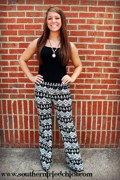 Black & White Aztec Pants $34.99! #SouthernFriedChics